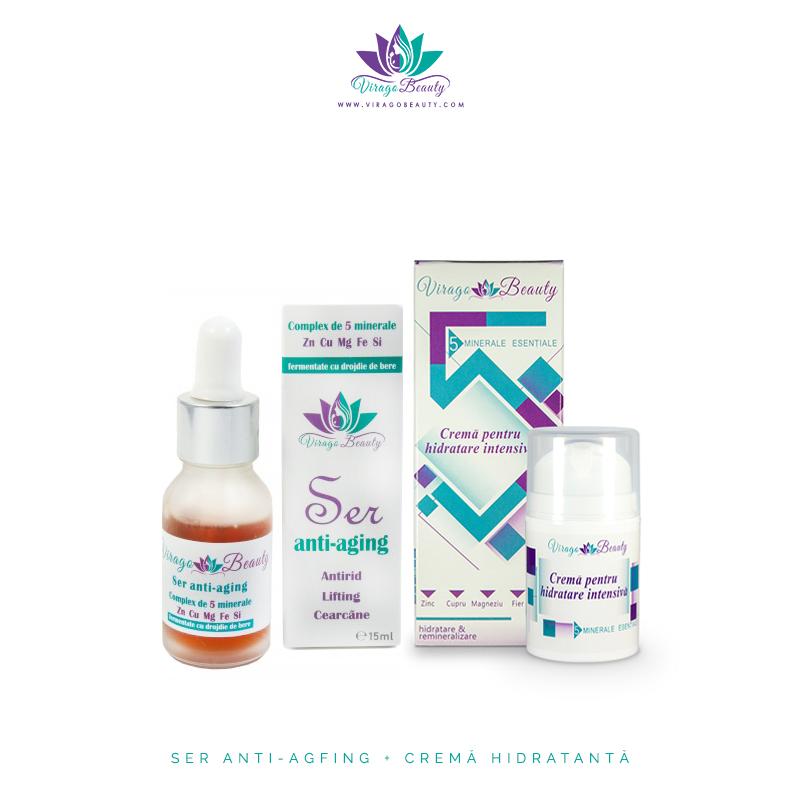 Ser anti-aging cu cremă pentru hidratare intensivă